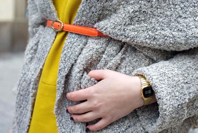 ootd outfit orange belt over cardigan