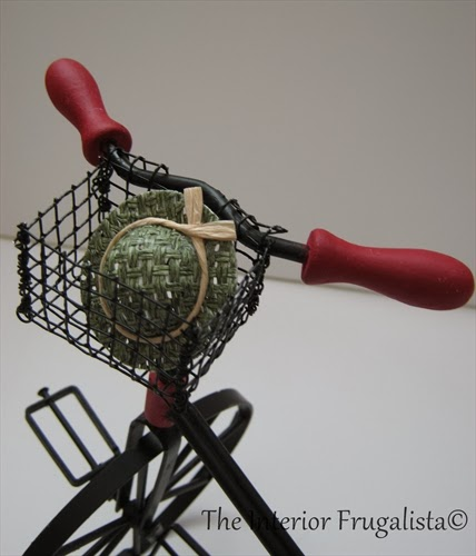 Miniature vintage iron and wood tricycle basket