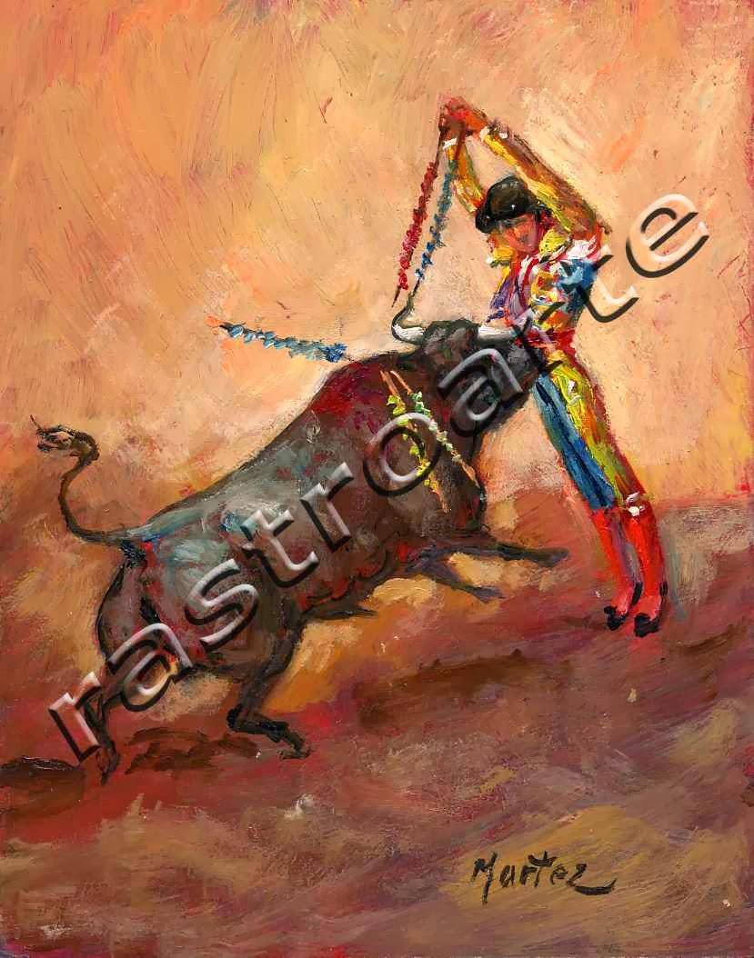 Banderillero poniendo un par en la cara del toro