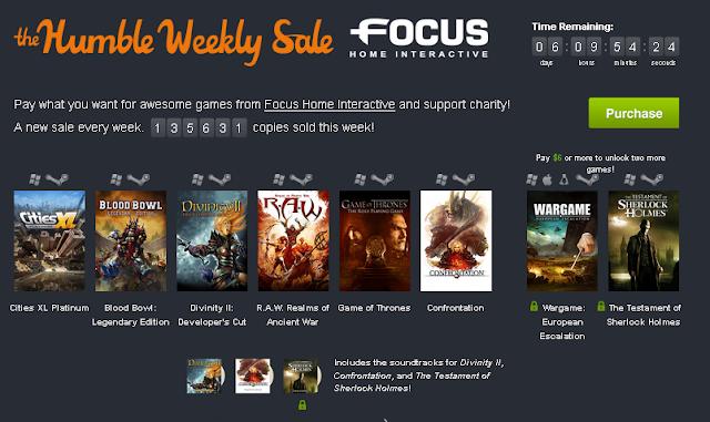 Nuevo Lote de juegos, de la desarrolladora Focus Home Interactive por un donativo mínimo de 1$