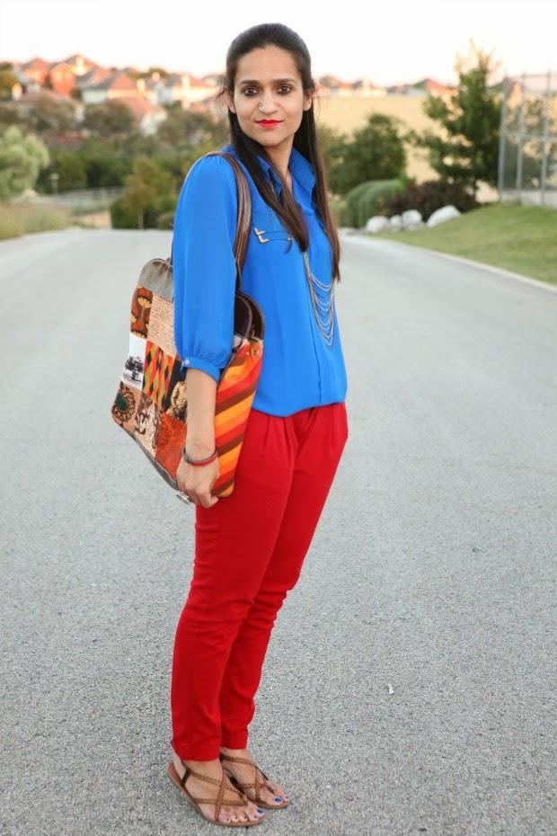 Indigo Blue Tunic, Zara Red Denims, zigi Soho flats, Tanvii.com