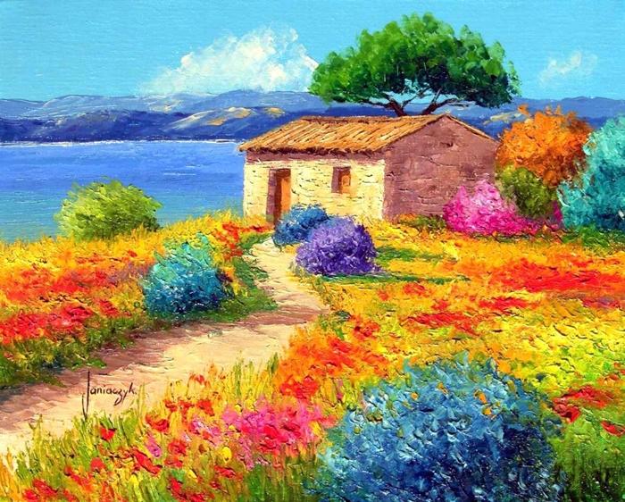 Pinturas que me gustan paisajes con vibrantes colores - Paisaje con colores calidos ...