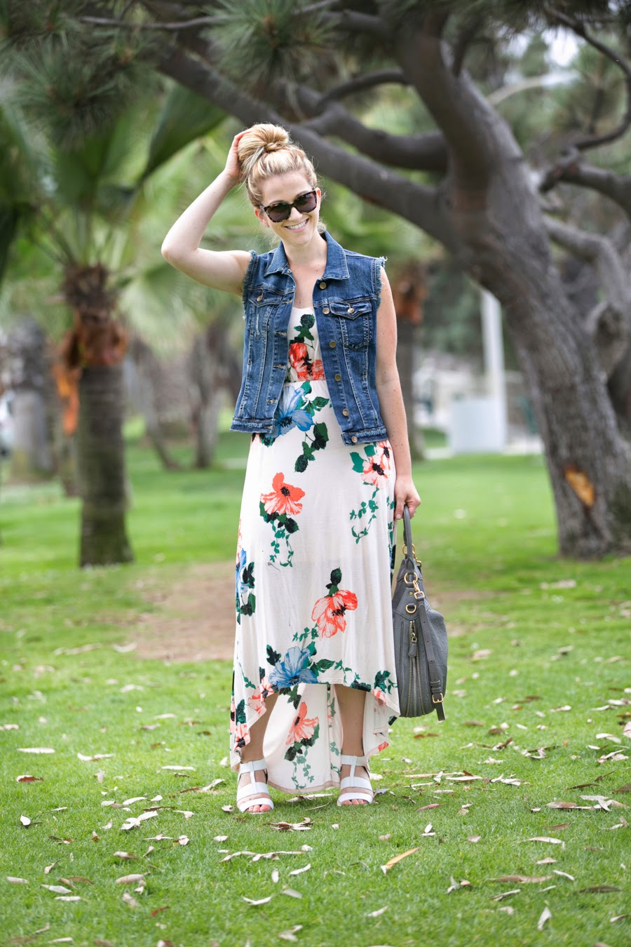Vested in Denim + Floral Hi-Low Maxi via @lucismorsels