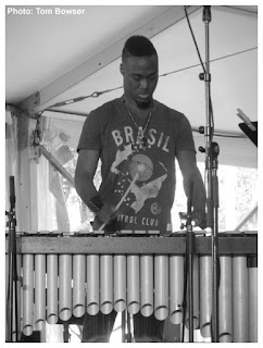Justin Thomas - Makaya McCraven Quartet - 2015 Chicago Jazz Festival   Photograph by Tom Bowser