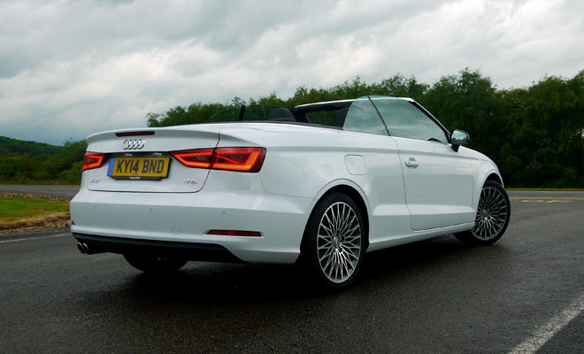 Audi A3 Cabriolet rear view, roof open