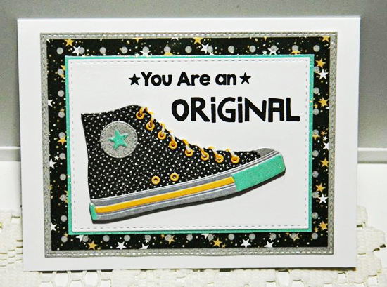 Original Card by BA Yurkanin featuring the Laina Lamb Designs All-Star High Tops Die-namics #mftstamps