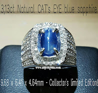 3,13ct RARE Natural Blue Sapphire Cat Eye