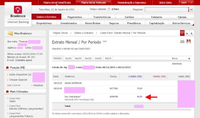Bradesco pagamento Hotwords