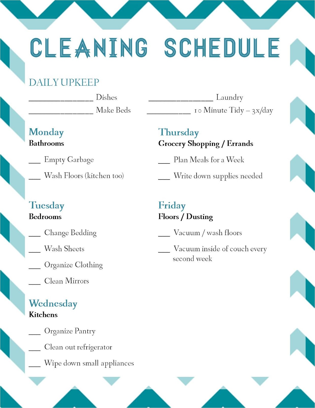house cleaning daily house cleaning schedule templates
