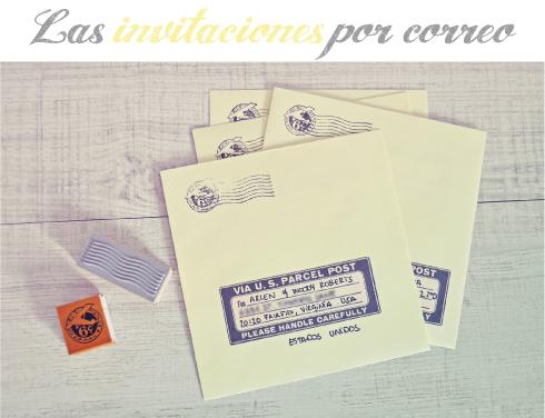 Sobres invitaciones vintage por correo