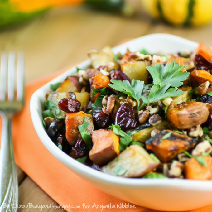 A serving of roasted potato medley perfect as a Thanksgiving or Christmas side dish from Dizzy, Busy & Hungry for Anyonita-nibbles.co.uk