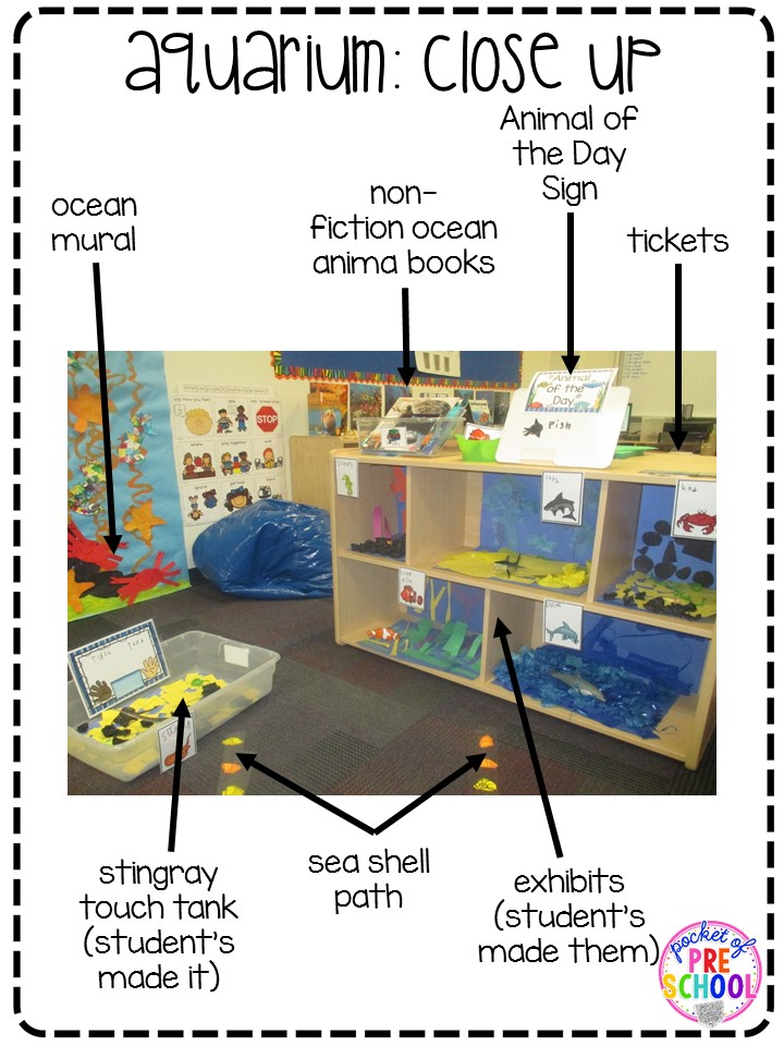 Classroom Unit Ideas ~ Aquarium theme in the dramatic play center pocket of