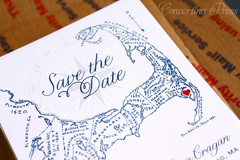 antique Cape Cod map save the date with heart by Concertina Press