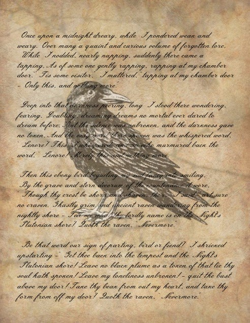 Edgar Allen Poe, The Raven, Halloween Printable, spooky, Easy Halloween DIY, Nevermore Quoth the Raven