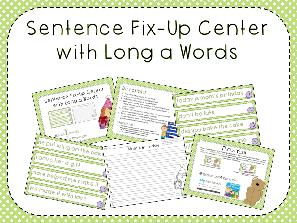 Link To Sentence Fix-Up Center with Long a Words
