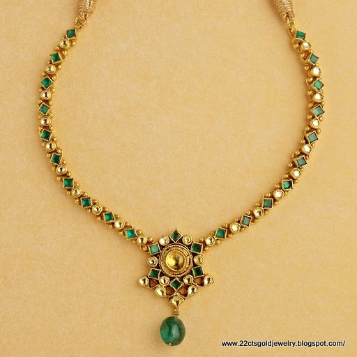 gold jewellery designs light weight ruby emerald necklace