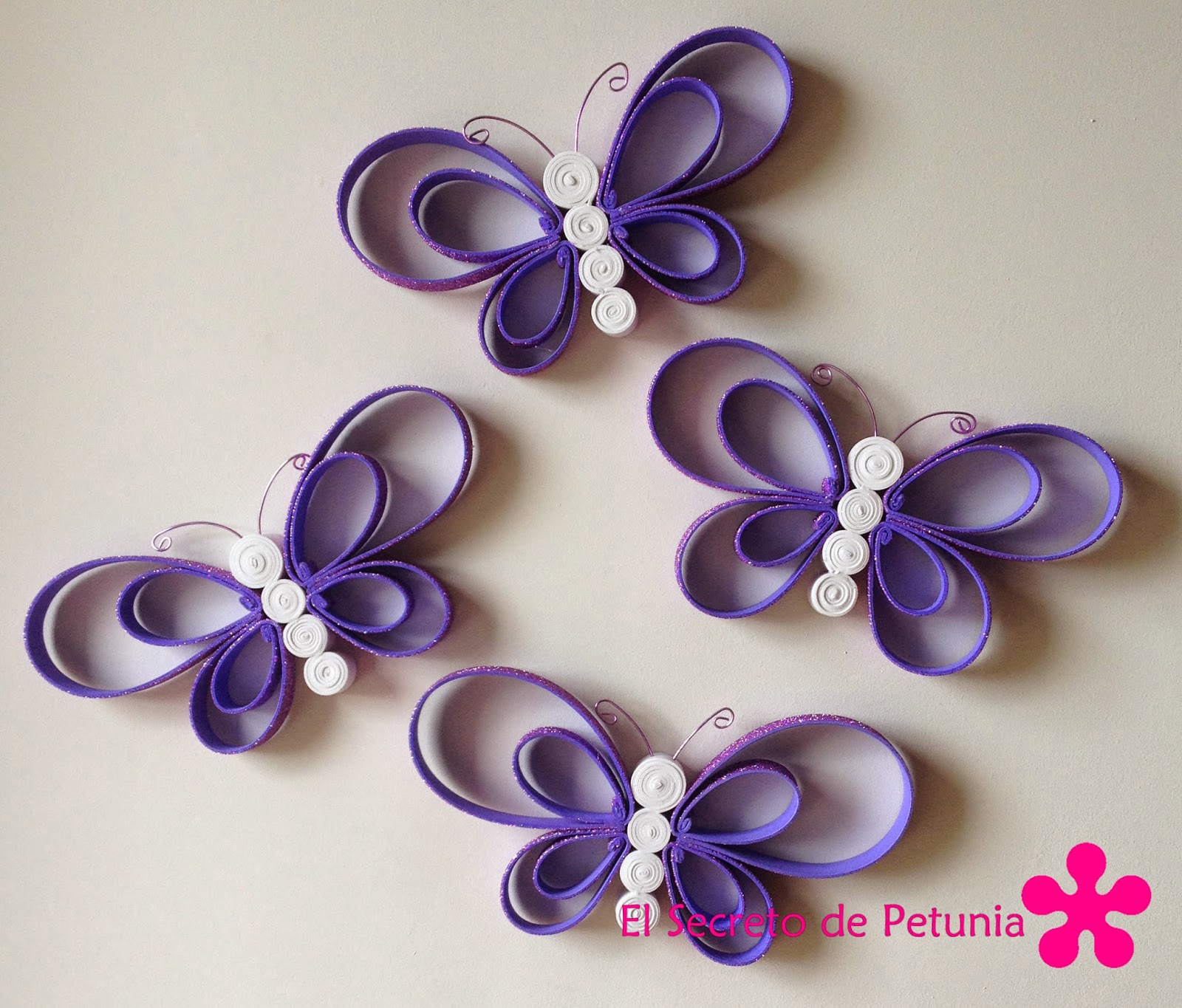 Mariposas de goma eva el secreto de petunia - Como hacer mariposas de papel para decorar paredes ...