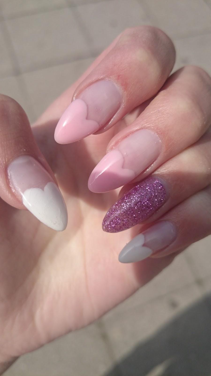 Nails: Baby pink & white nails