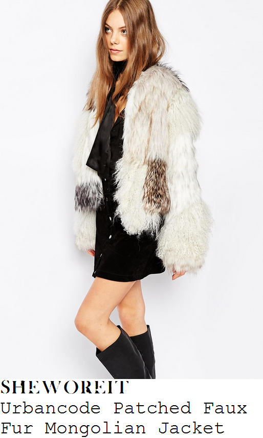 lauren-pope-white-cream-grey-natural-mongolian-patched-shaggy-faux-fur-jacket-instagram