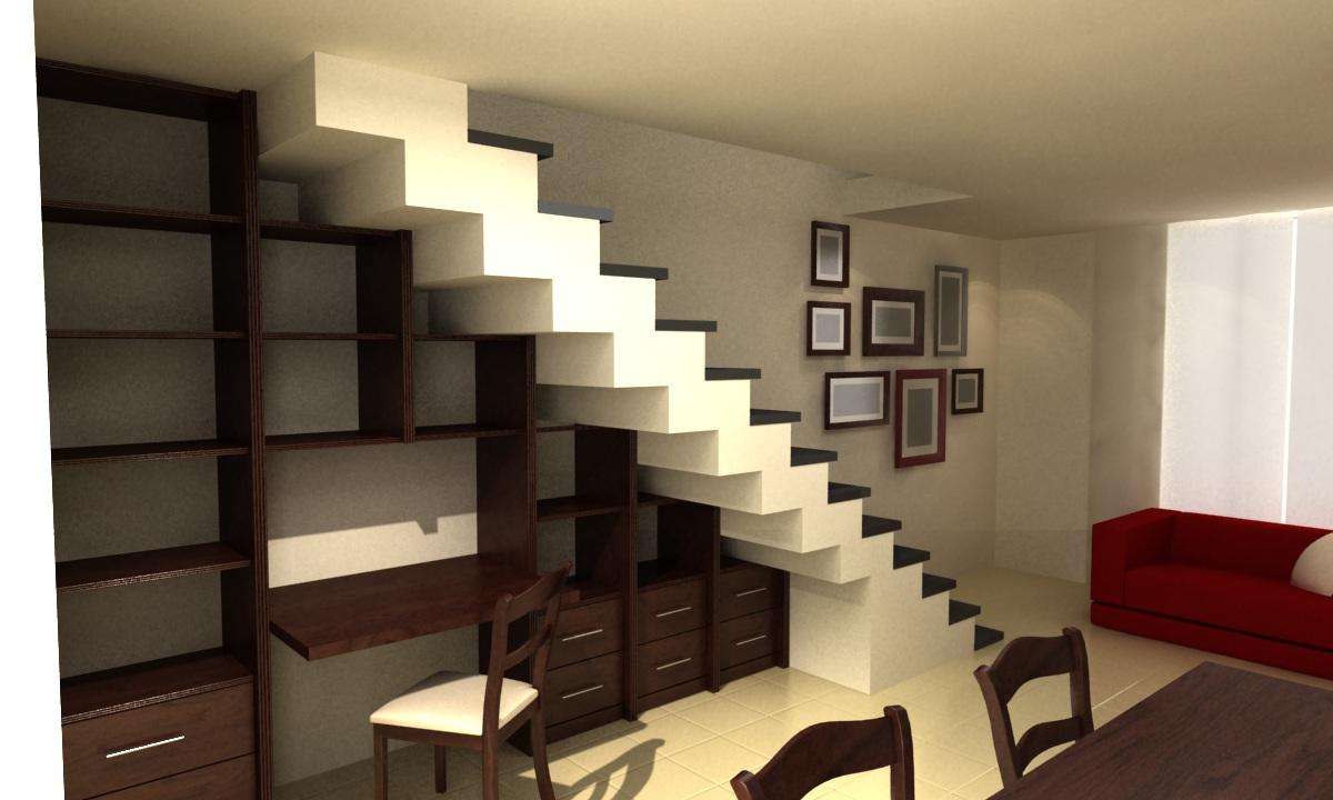 para optimizar el espacio de sta vivienda de en dplex se construy una biblioteca con escritorio incorporado y cajones bajo la escalera