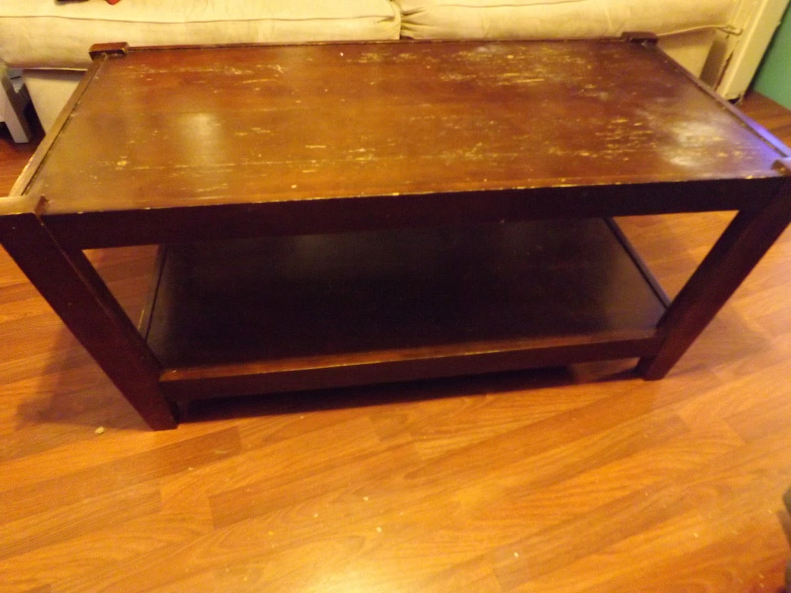 Tedious Tinkering Coffee table converted into an Ottoman