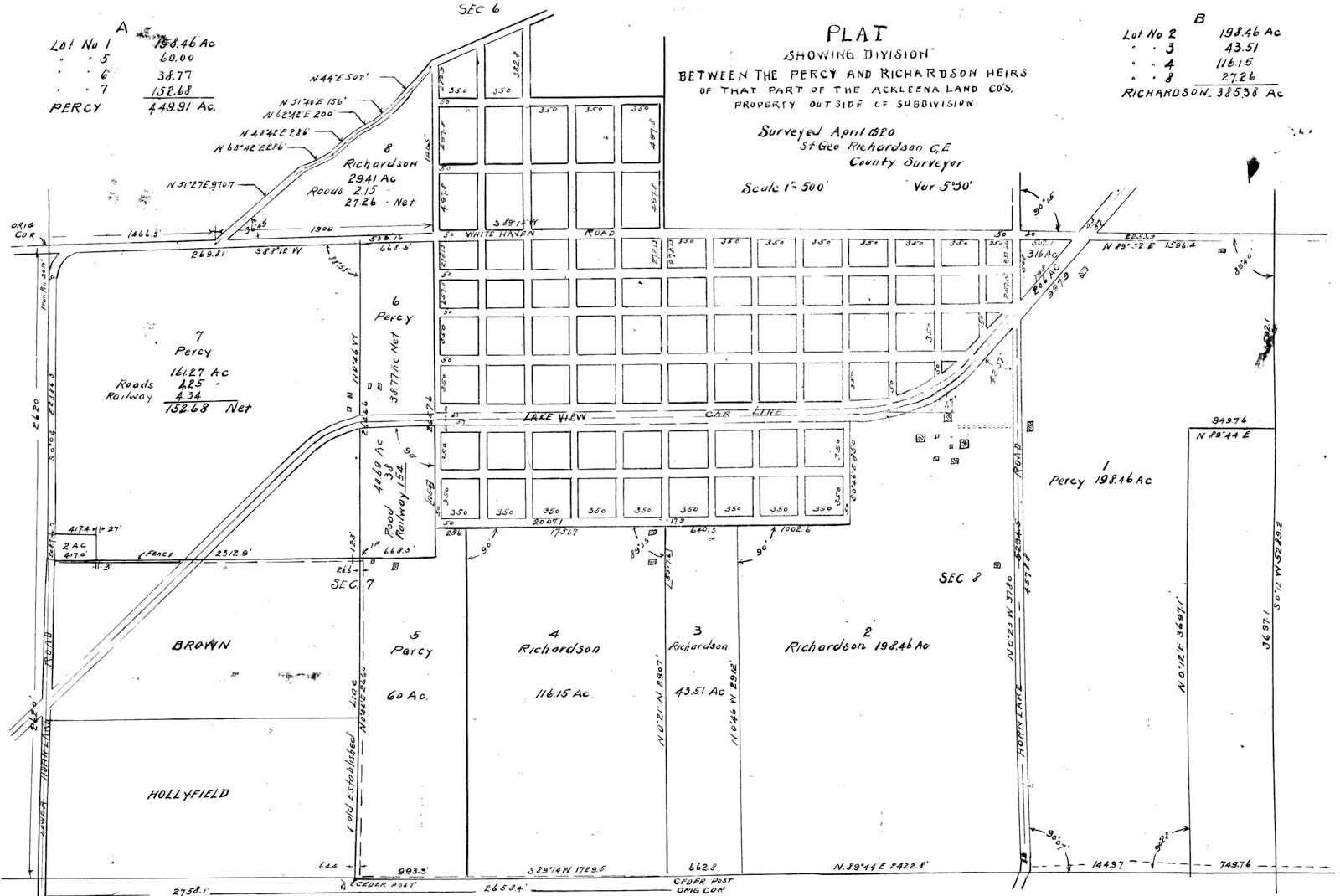 finally this plat was submitted to the register s office in 1921 creating large lots outside of the core lakeview development this map essentially