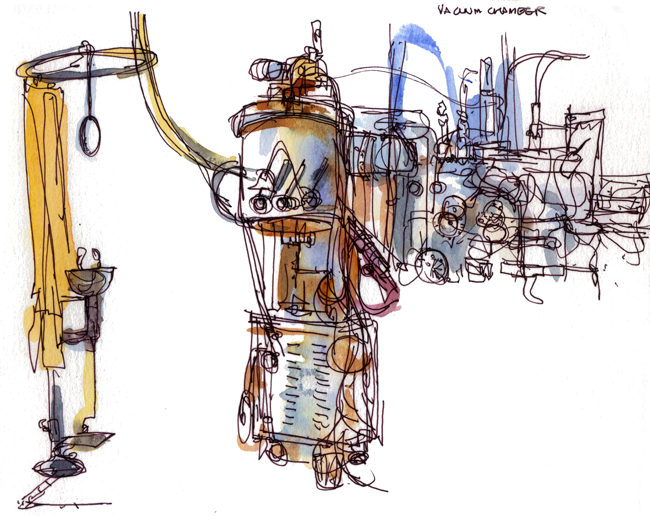 "Shiho Nakaza JPL ""Jet Propulsion Laboratory"" Pasadena ""Los Angeles"" California sketching watercolor watercolour machine ""vacuum chamber"" shower"