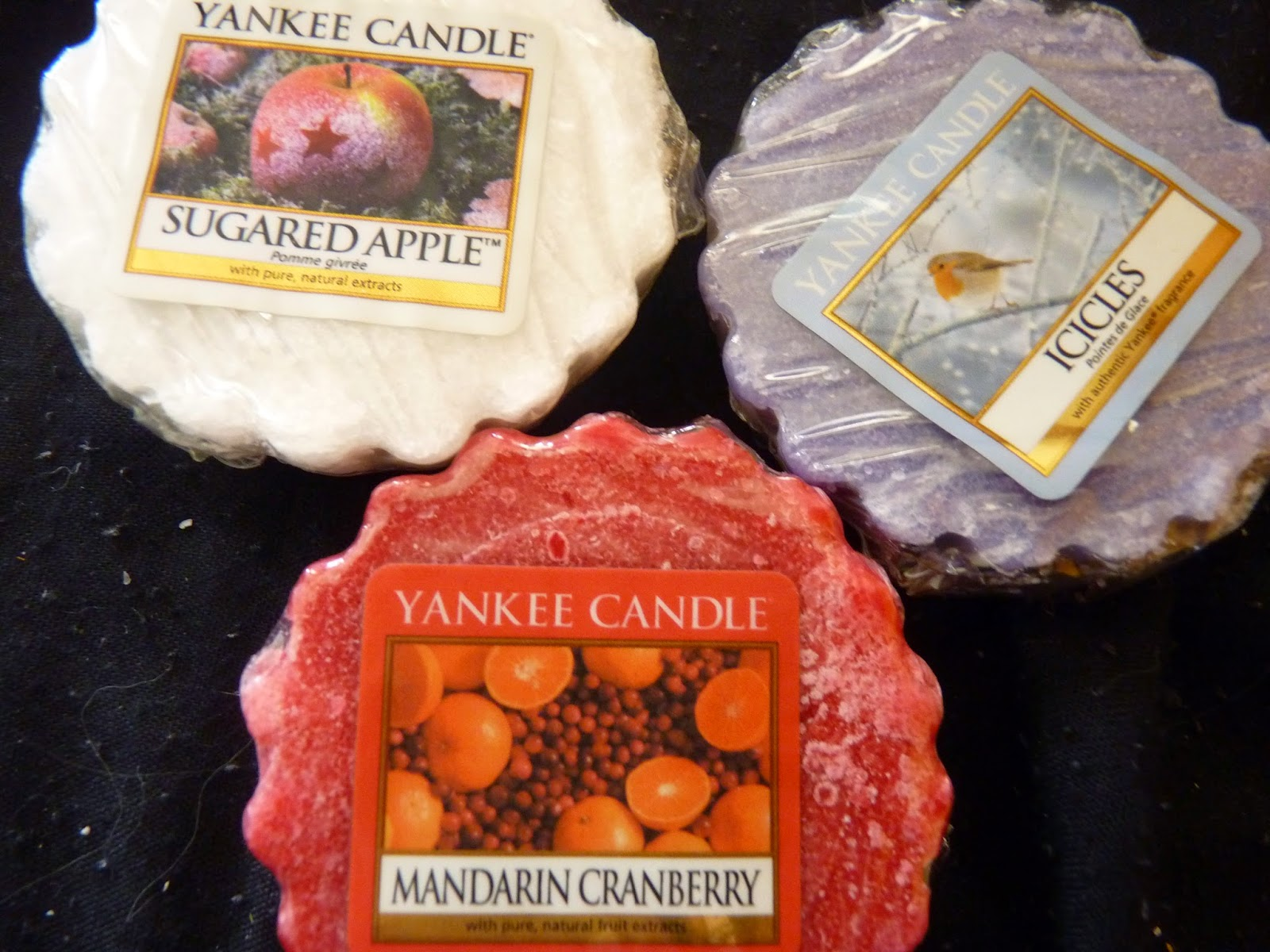 bougies yankee candle, tartelette, hiver, collection limitée, noel, cramberry mandarin, mandarine cramberry, sugared apple, pomme sucrée, icicles