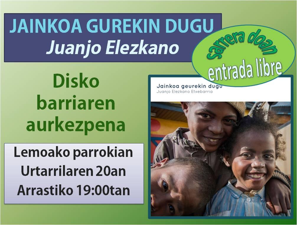 Concierto de Juanjo Elezkano, el sábado 20, 19:00, Parroqui ade Lemoa