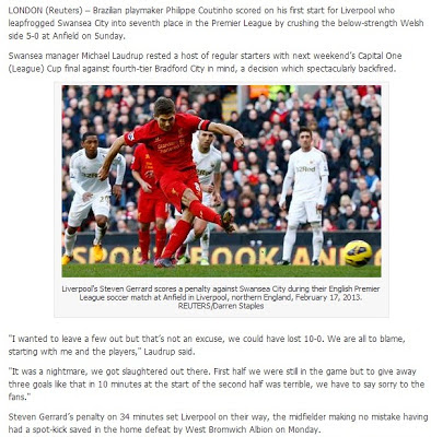 Liverpool tewaskan Swansea City 5-0