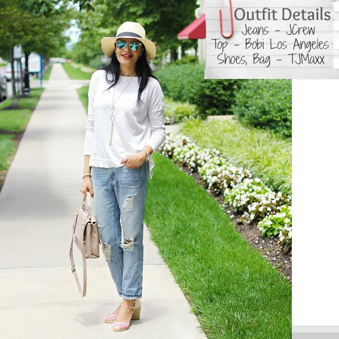 July 4th Outfit Idea, JCrew Boyfriend Jeans, Striped Espadrilles, Blue sunglasses