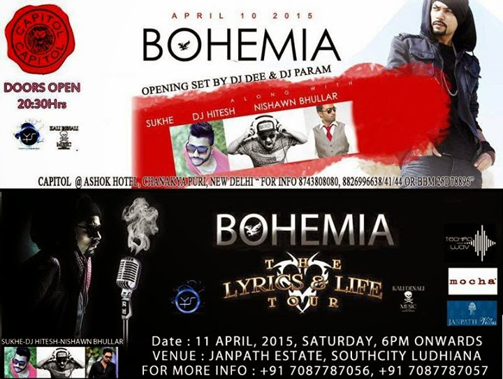 BOHEMIA LIVE in Delhi on April 10 at Capitol and in Ludhiana on April 11 at Janphat Estate