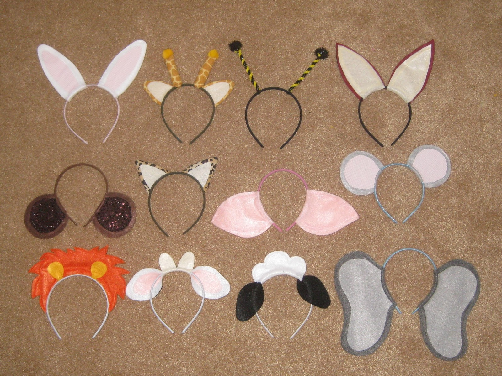 Ashleys craft corner animal ears headbands from left to right and top to bottom bunny giraffe bee fox monkey jaguar pig mouse lion cow sheep elephant some of the ears might seem really pronofoot35fo Images