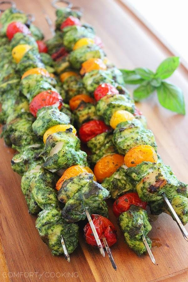 Grilled Pesto Chicken and Tomato Skewers