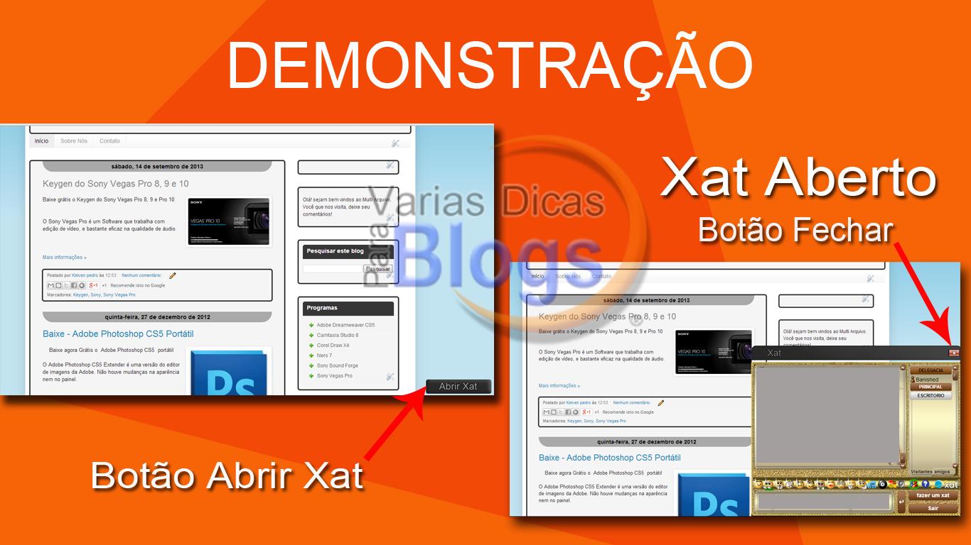 Botão abrir e fechar Xat para blog