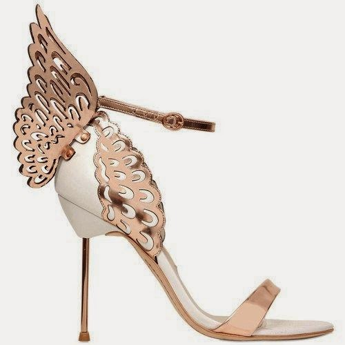SOPHIA WEBSTER Evangeline Wing Leather Sandals - Rose Gold/White SS2015