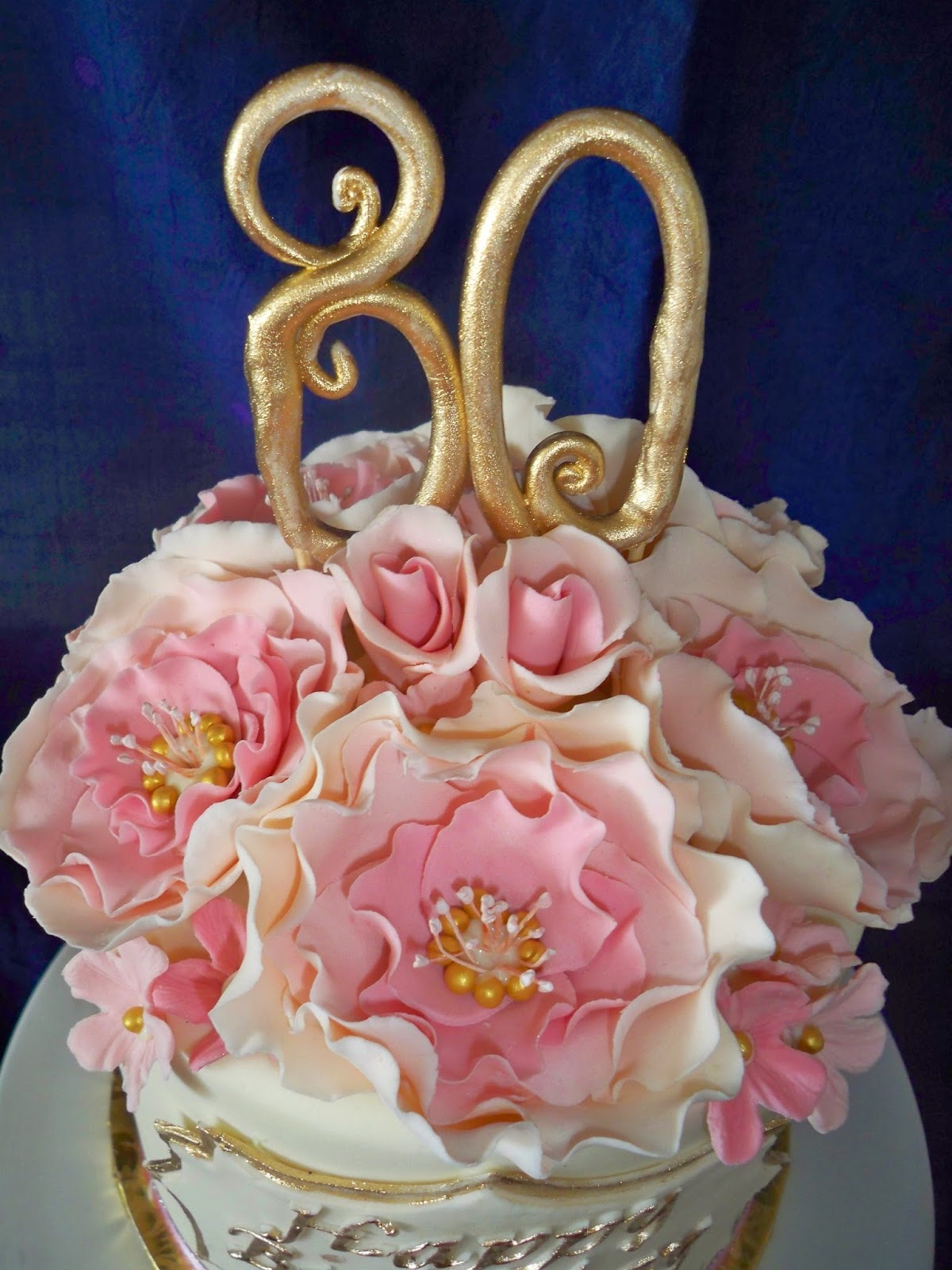 pink vintage open rose with name plaque birthday / anniversary cake ...