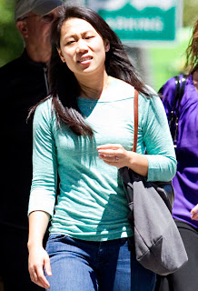 Priscilla Chan in blue shirt