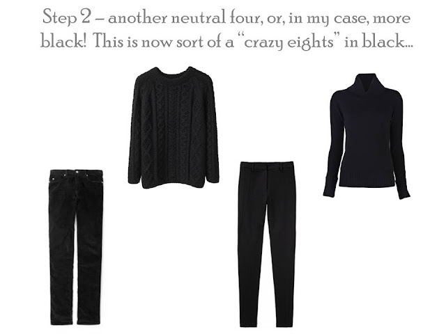 a Core of Four in black, jeans, trousers, crewneck sweater and turtleneck