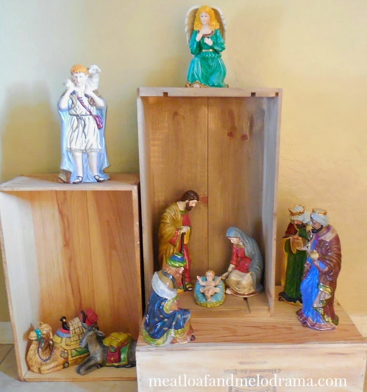 manger scene arranged in stacked crates