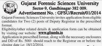 Gujarat Forensic Sciences University Recruitments (www.tngovernmentjobs.in)