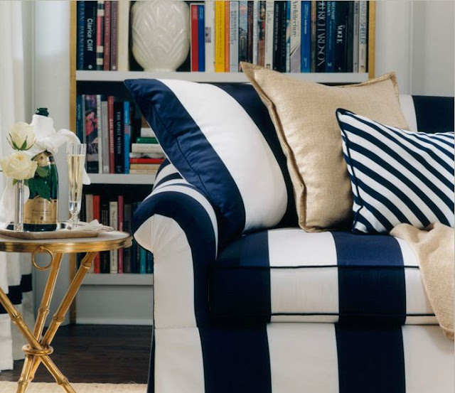 Blue and White Striped Couch