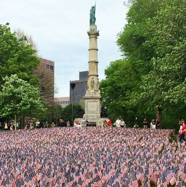 37000 American flags in Boston Common, Memorial Day 2015