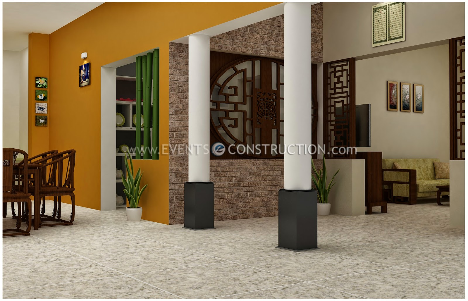 Evens construction pvt ltd partition wall desiogn dining room living room and kitchen - Partition kitchen dining ...