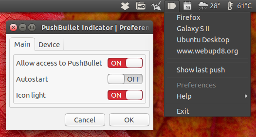 Pushbullet Indicator Ubuntu