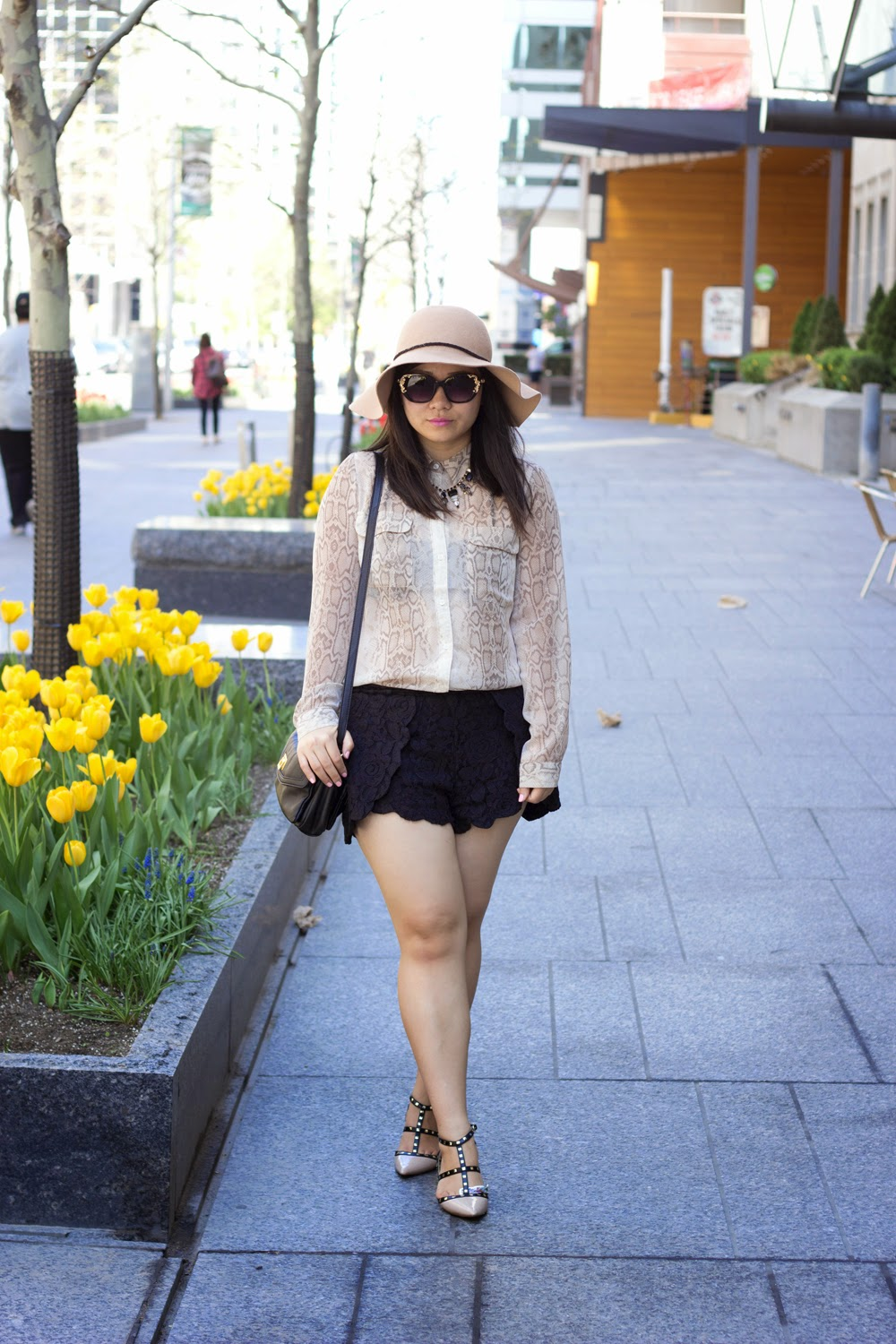 Floppy-Hat, A-J-Morgan-Sun-glasses, Snake-skin-Print-Blouse, Black-Lace-Shorts