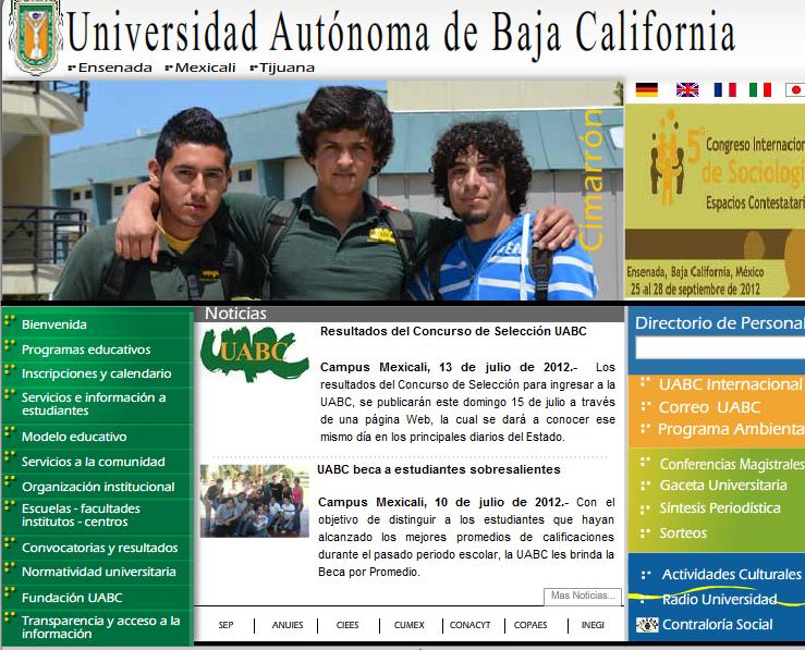 Resultados online UABC Concurso 2012-2