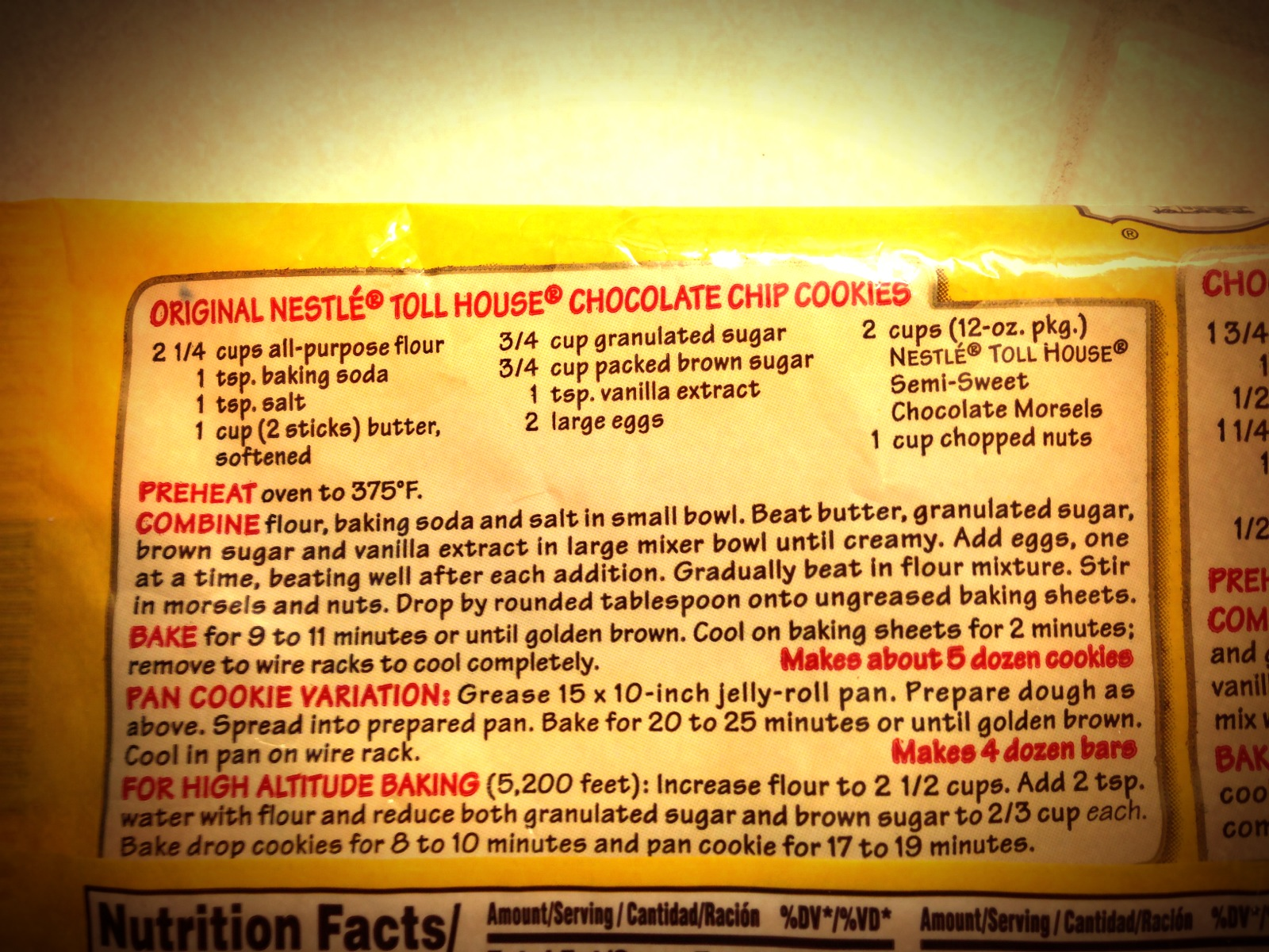Original NESTLE TOLL HOUSE Dark Chocolate Chip Cookies Recipe ...