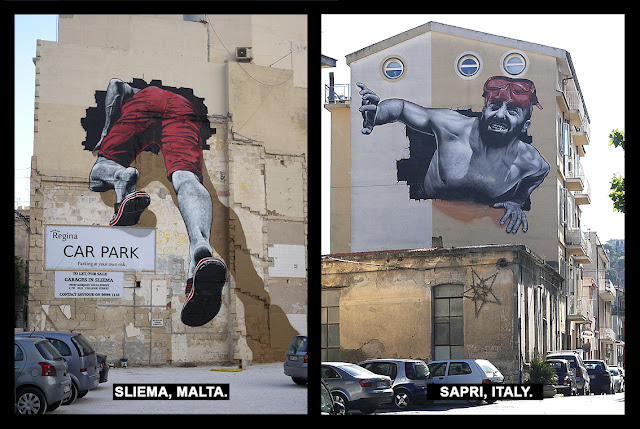 MTO just sent us a series of images from a brilliant intervention he just finished working on in Sliema, Malta and Sapri, Italy.