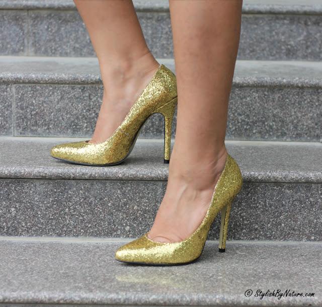 golden glitter heels